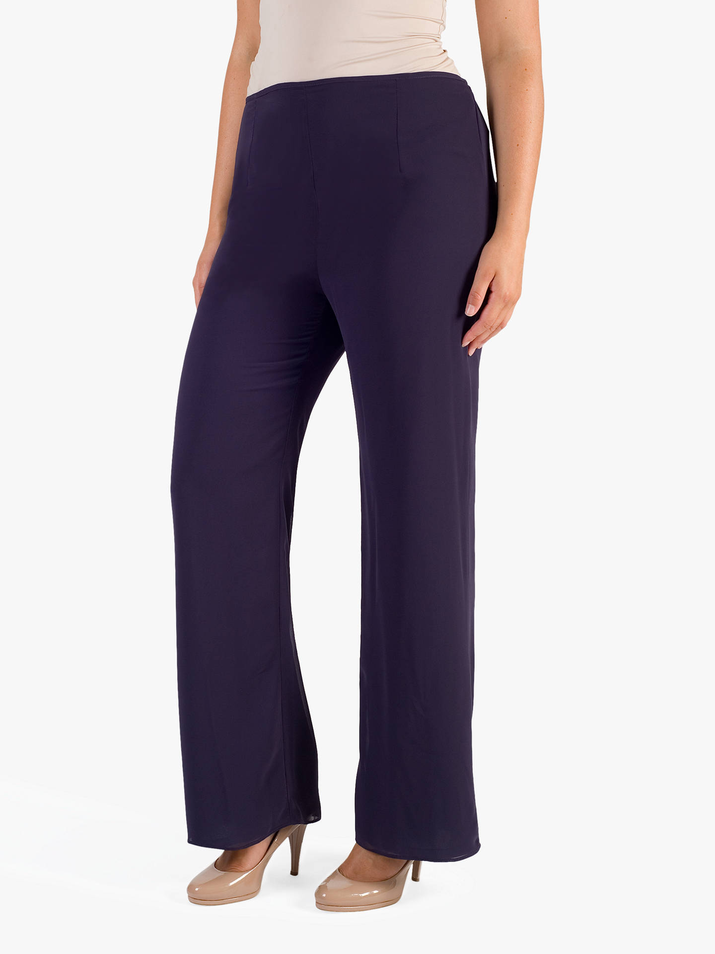 BuyChesca Jersey Lined Chiffon Trousers, Grape, 12 Online at johnlewis.com