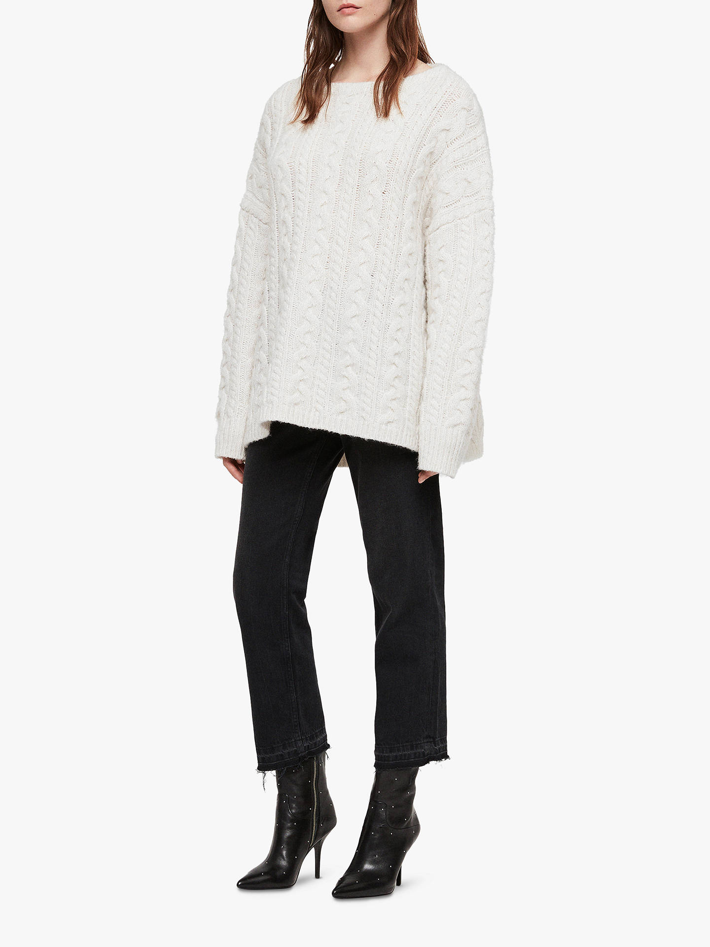 BuyAllSaints Cable Knit Jumper, Sodium White, XS Online at johnlewis.com