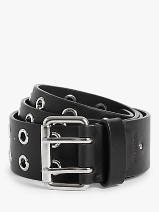 AllSaints Iryna  Eyelet Leather Belt, Black