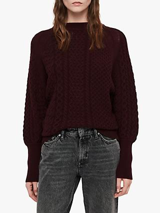 AllSaints Dilone Textured Knit Wool Cashmere Jumper, Burgundy