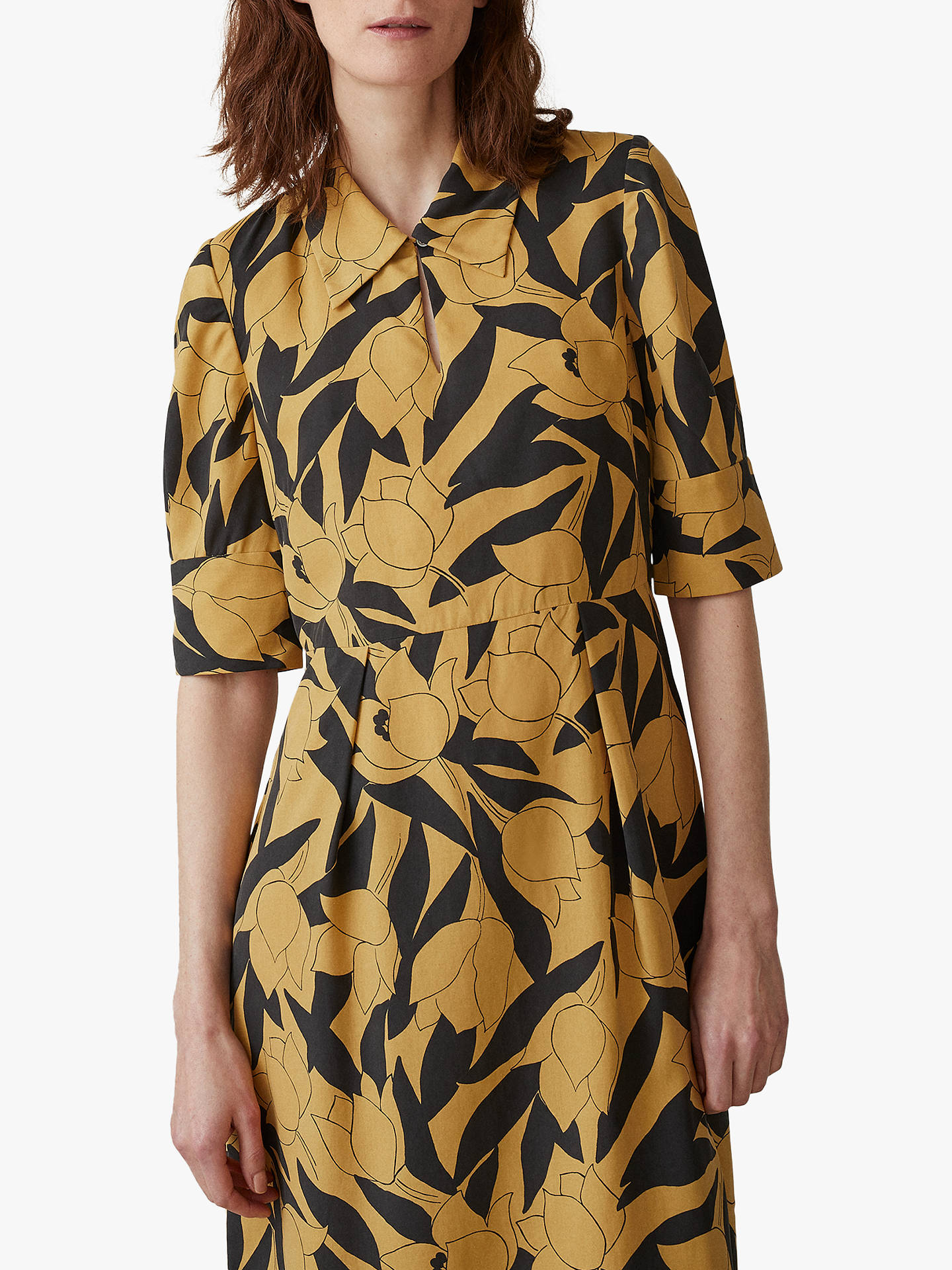 BuyToast Linear Floral Print Silk Dress, Soft Yellow, 8 Online at johnlewis.com