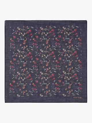 Paul Smith Floral Silk Pocket Square, Blue