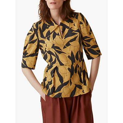 Toast Linear Floral Print Shirt, Soft Yellow