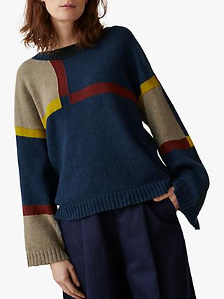 Toast Check Intarsia Jumper, Blue/Red Earth