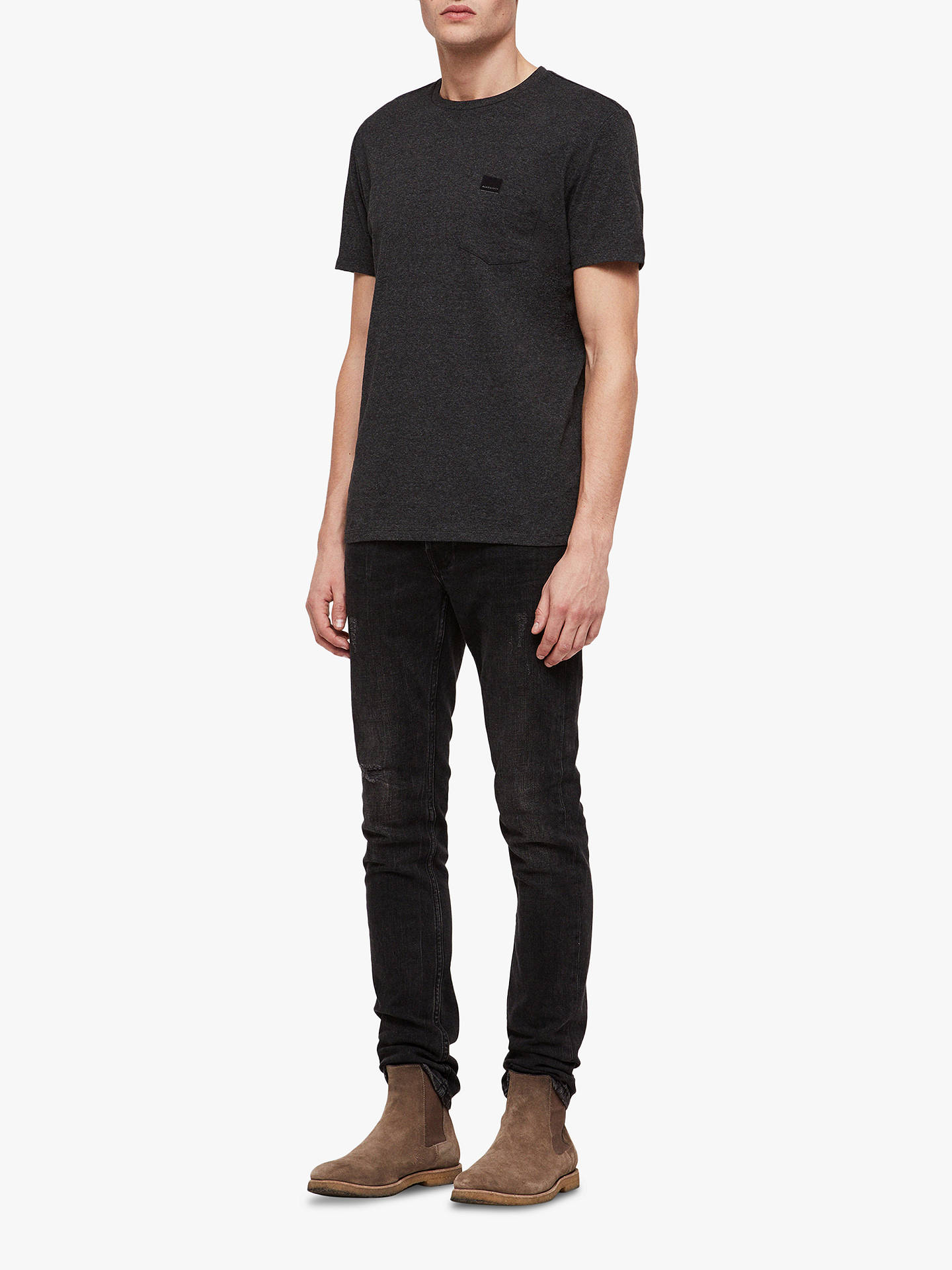 BuyAllSaints Heal Tonic Short Sleeve T-Shirt, Charcoal Marl, XS Online at johnlewis.com