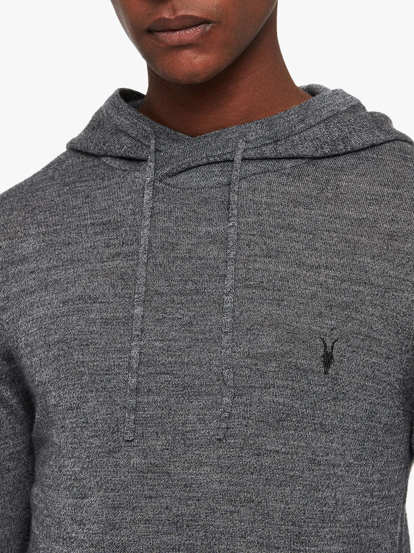 Buy AllSaints Mode Merino Pullover Hoodie, Charcoal Mouline, XS Online at johnlewis.com