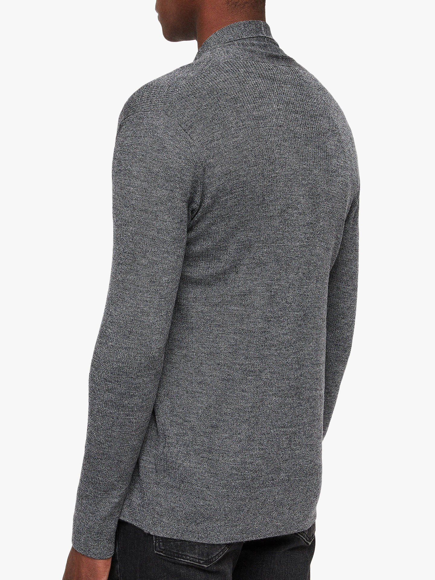 BuyAllSaints Mode Merino Cardigan, Charcoal Mouline, XS Online at johnlewis.com
