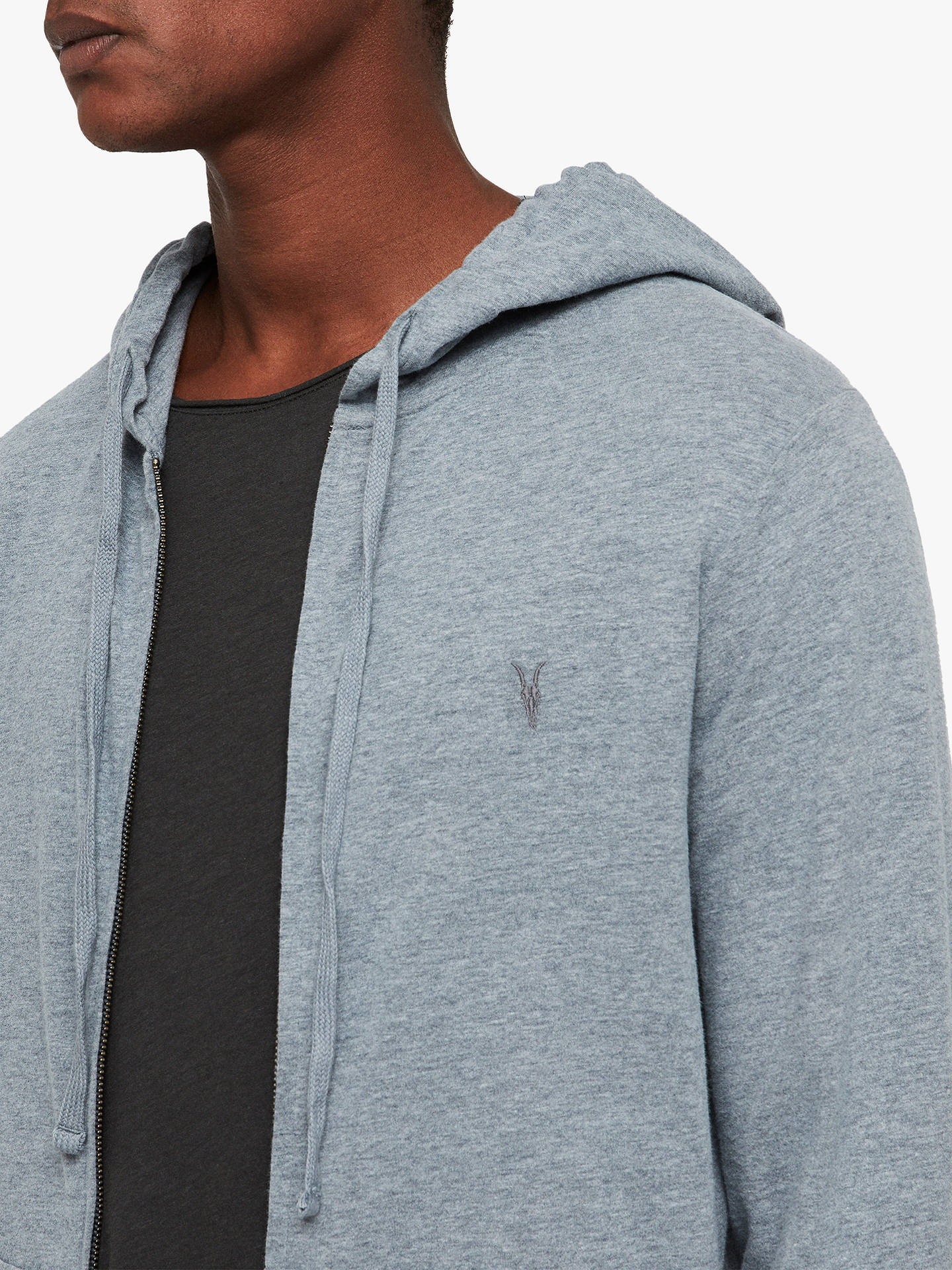 BuyAllSaints Brace Full Zip Hoodie, Arctic Blue Marl, M Online at johnlewis.com