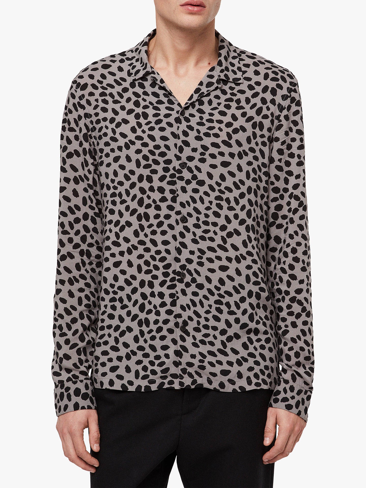 81bed5982249 Buy AllSaints Piero Leopard Print Slim Fit Long Sleeve Shirt, Mine Grey/ Black, ...