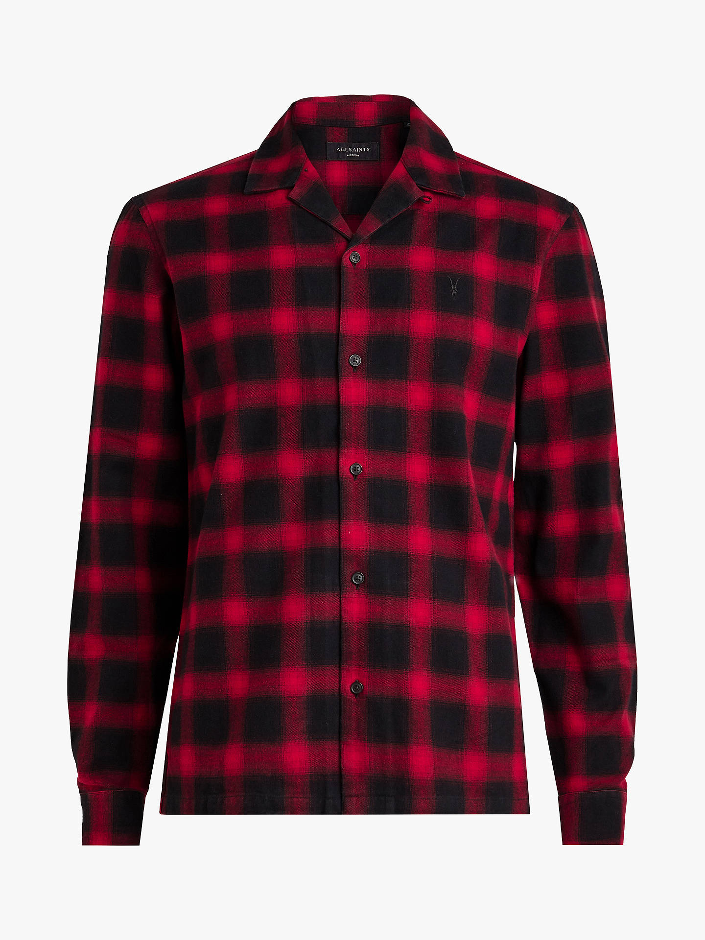 BuyAllSaints Clyde Long Sleeve Check Shirt , Red/Black, L Online at johnlewis.com