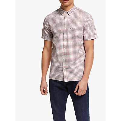 Lacoste Short Sleeve Check Shirt, White/Red