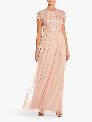 Adrianna Papell Sequin Tulle Maxi Dress, Blush