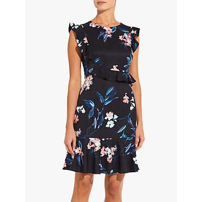 Adrianna Papell Royal Ruffle Floral Dress, Black Multi