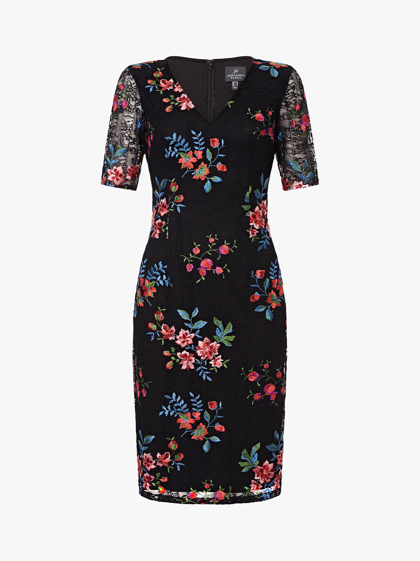 BuyAdrianna Papell Maria Sheath Dress, Black/Multi, 16 Online at johnlewis.com