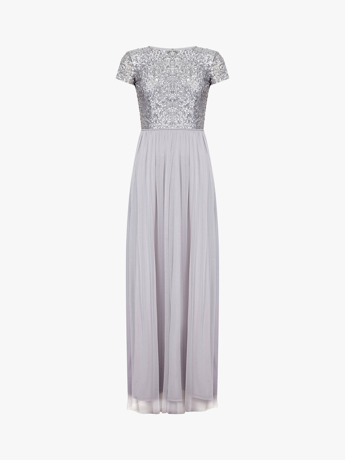 0ca72d20e9 Buy Adrianna Papell Sequin Tulle Maxi Dress, Bridal Silver, 14 Online at  johnlewis.