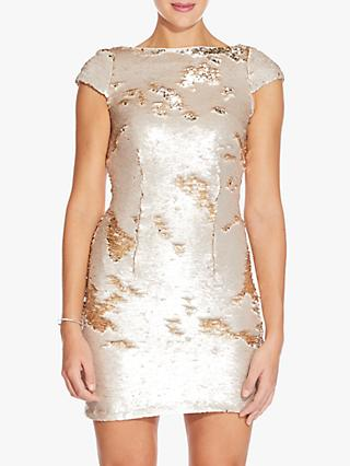 Adrianna Papell Sequin Mini Dress, Champagne Gold