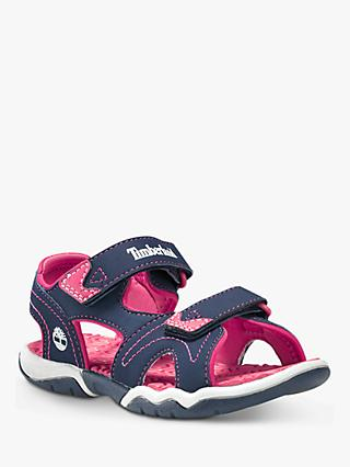 Timberland Children's Adventure Seeker Rip-Tape Sandals, Navy/Pink