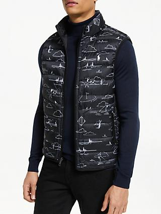 Polo Golf by Ralph Lauren Reversible Down Fill Vest, Polo Black/Scenic Print