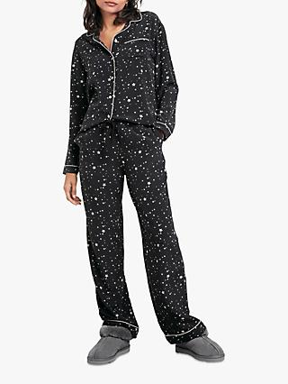 hush Piped Silk Pyjama Set, Scatter Star Black/White