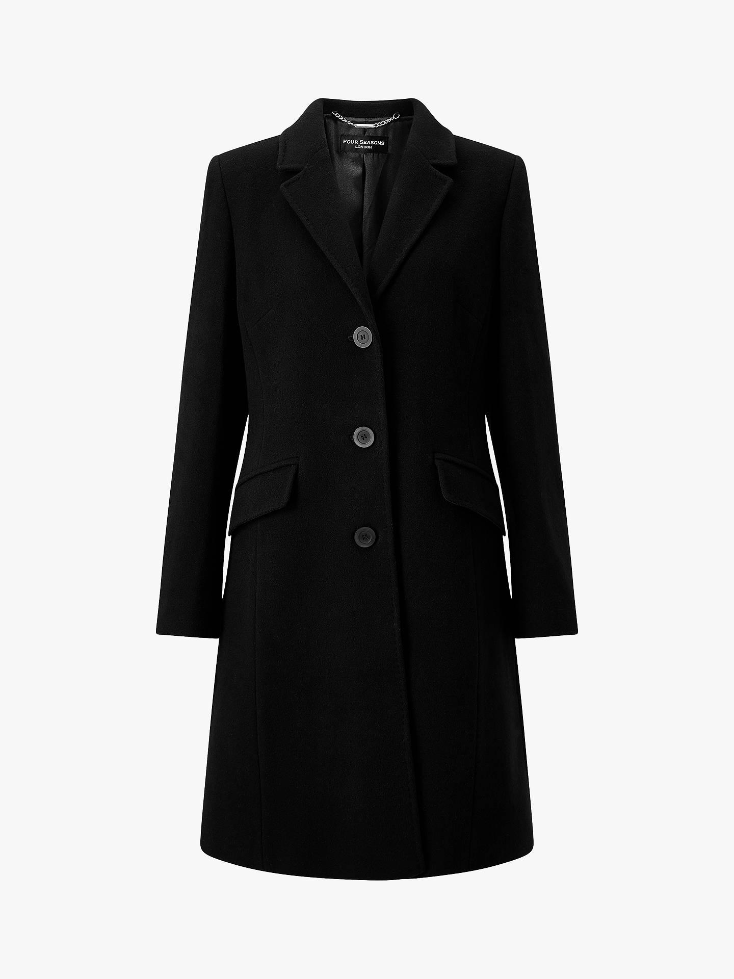 67480f74b91 Four Seasons Slimline 3-Button City Coat, Black at John Lewis & Partners