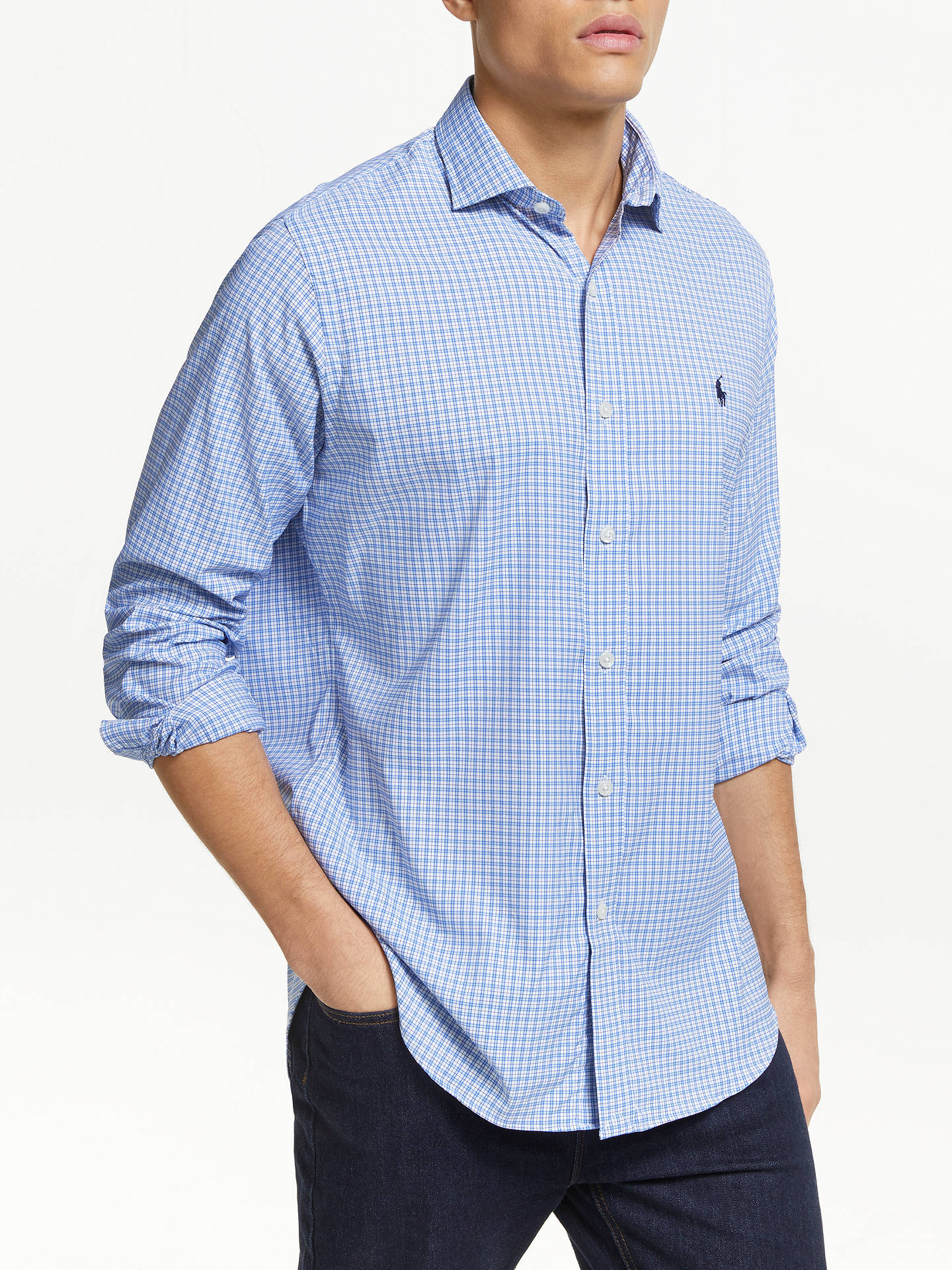 90a2a481c Buy Polo Golf by Ralph Lauren Check Sports Shirt, New England Blue, M  Online ...