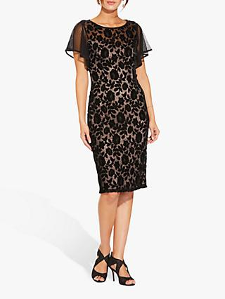 Adrianna Papell Floral Velvet Dress, Black/Rose Gold