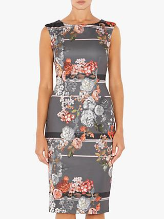 Adrianna Papell Royal Floral Lined Dress, Grey Multi