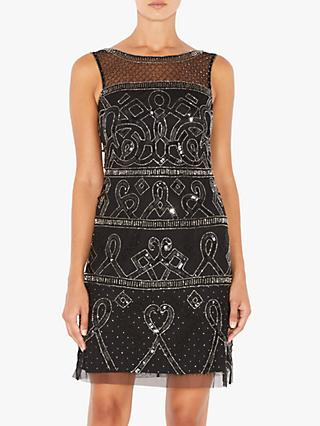 Adrianna Papell Beaded A-Line Mini Dress, Mercury