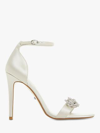 Dune Marry Me Bridal Collection Embellished Stiletto Heel Sandals, Ivory Satin