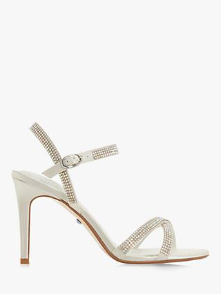 bec9a547408 Dune Magikal Diamante Cross Front Stiletto Heel Sandals