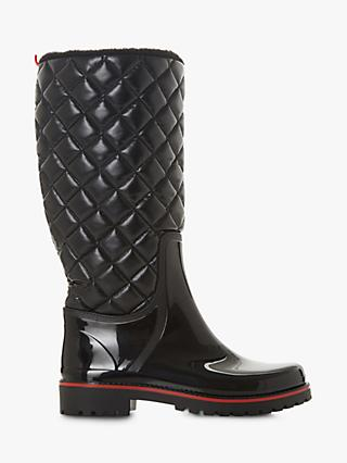 Dune Triumph Quilted Wellington Boots, Black