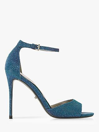 Dune Midnight Strappy Heeled Sandals, Blue Fabric