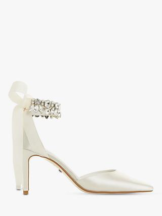Dune Church Bridal Collection Stiletto Heel Court Shoes, Ivory Satin