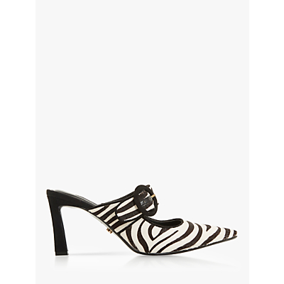 Dune Decore Pony Kick Heel Mules, Black/White