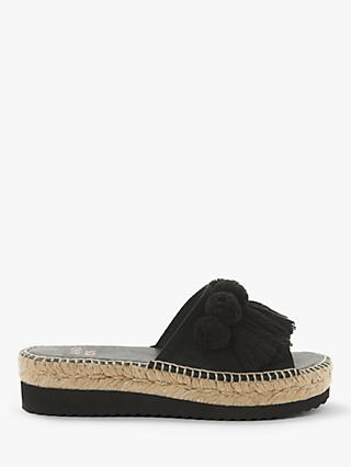 AND/OR Katie Pom Pom Tassel Slip On Flatform Sandals, Black Suede