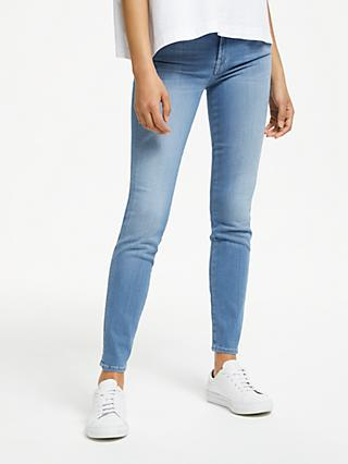 7 For All Mankind Roxanne Mid Rise Slim Illusion Cropped Jeans, Light Indigo