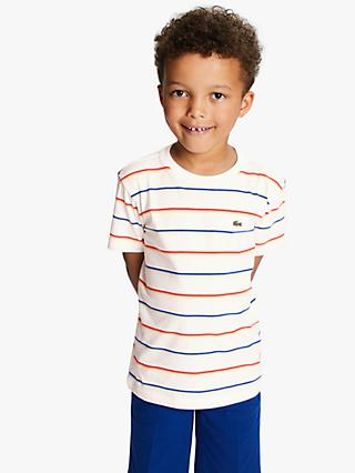 Lacoste Boys' Stripe T-Shirt, White/Multi