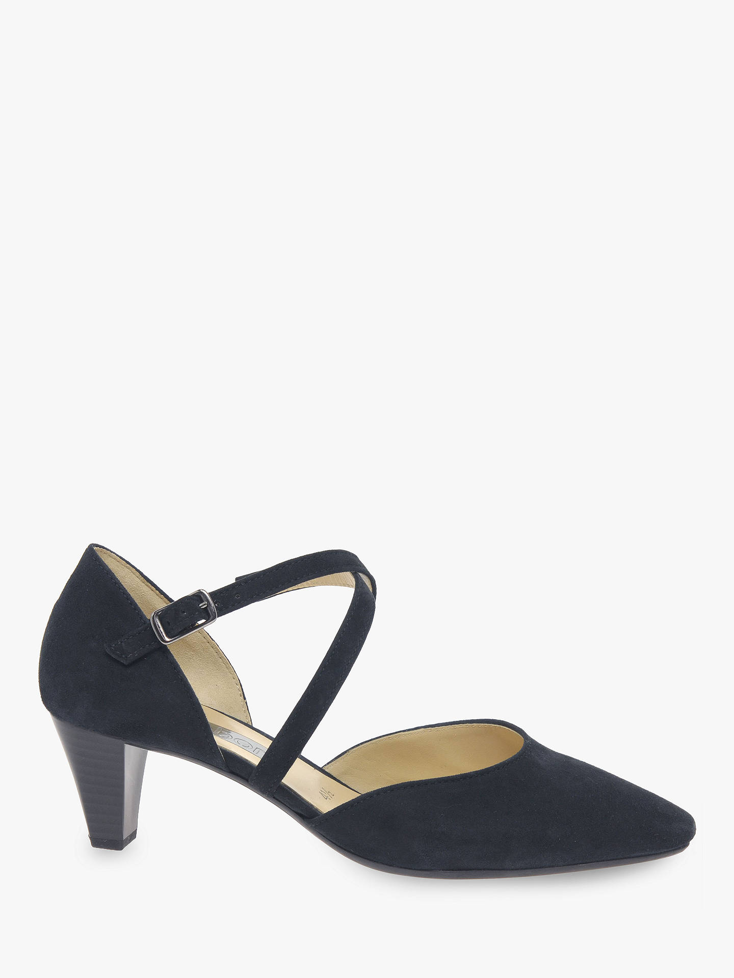 b8e9f3f718a Gabor Callow Cross Strap Block Heel Court Shoes, Pacific Suede