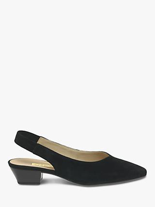 Gabor Heathcliffe Block Heel Slingback Court Shoes, Black Suede