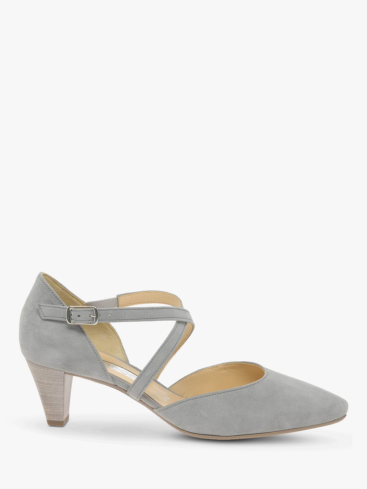 3375a580979db Buy Gabor Callow Cross Strap Block Heel Court Shoes, Grey Suede, 3 Online  at ...