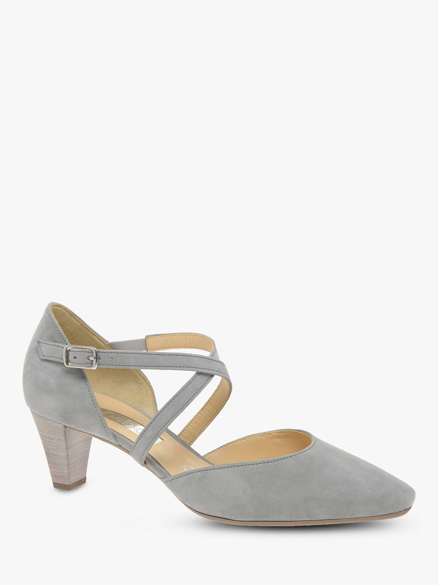 dc2dec0303aeb ... Buy Gabor Callow Cross Strap Block Heel Court Shoes, Grey Suede, 3  Online at ...