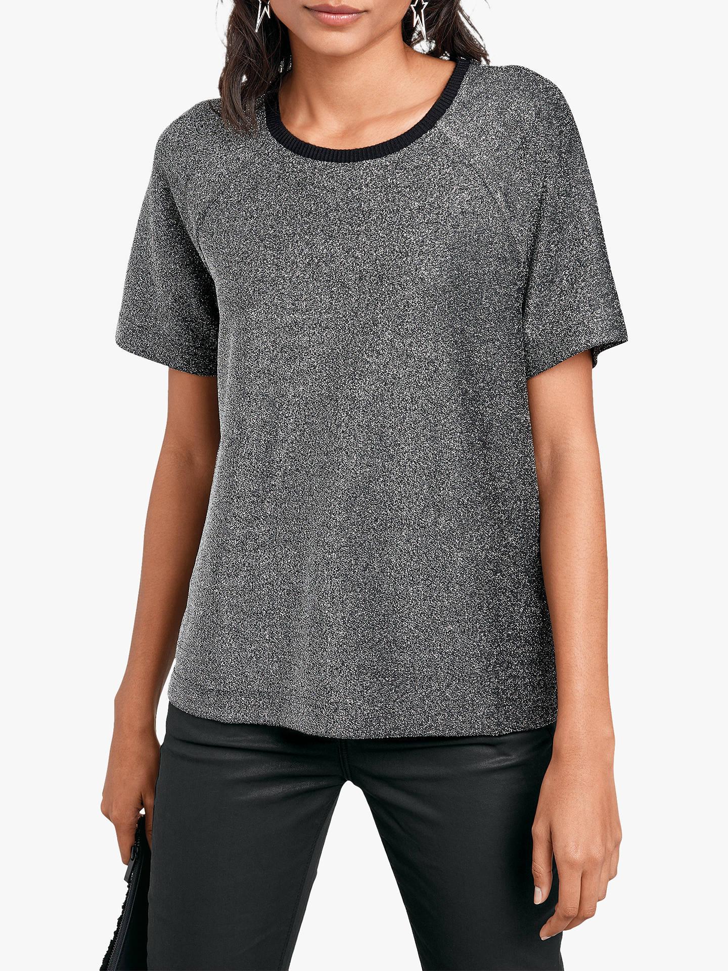 60246c8c8b49 Buy hush Glitter Raglan T-Shirt, Metallic Silver, L Online at johnlewis.