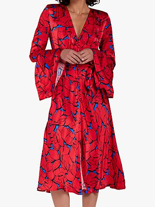 Ghost Annabelle Abstract Floral Satin Dress, Red/Cobalt
