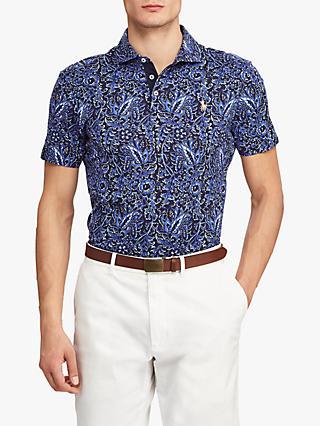 3a97a903 Polo Ralph Lauren Floral Custom Slim Fit Jersey Polo Shirt, Blue Choppa  Print