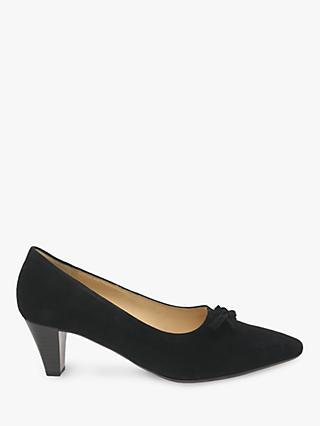 Gabor Pearl Tie Bow Trim Court Shoes, Black