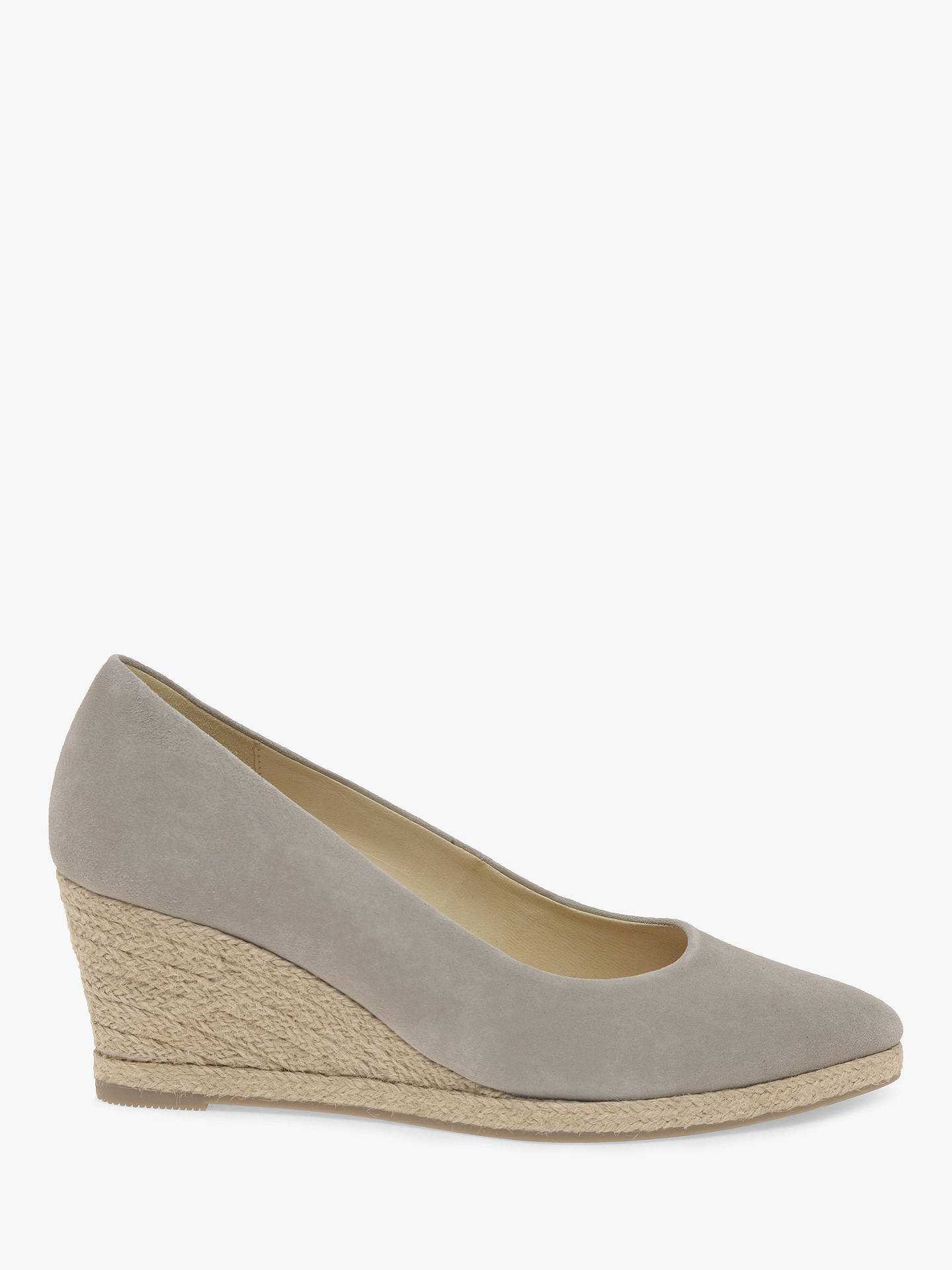 b29891c951b Gabor Paisley Espadrille Wedge Heel Court Shoes, Taupe Nubuck