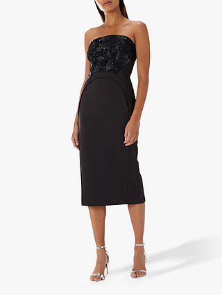 Buy Coast Maria Strapless Embroidered Yoke Cocktail Dress, Black, 10 Online at johnlewis.com