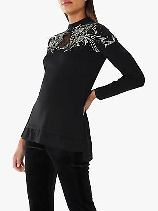 Coast Rene Embellished Knitted Top, Black