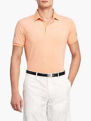 07f0d2ab Polo Golf by Ralph Lauren Custom Slim Fit Performance Polo Shirt,  Poppy/Pink White