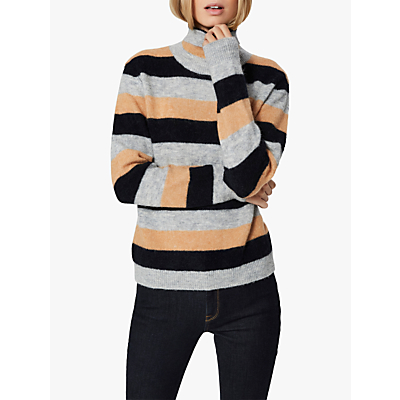 Selected Femme Sia High Neck Striped Jumper, Stripes/Dark Sapphire